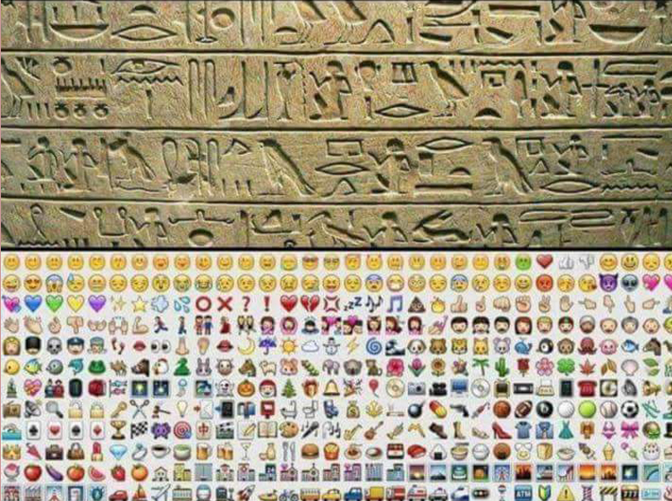 language hieroglyphs and emoticons
