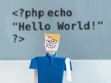 HTML code saying 'hello world!'