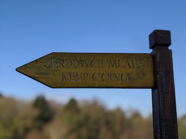 Sign with Welsh text